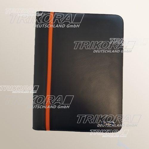 Arbeitsmappe schwarz orange mit Block