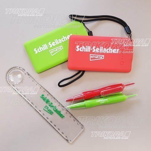 Powerbank Lineal Kugelschreiber rot grün