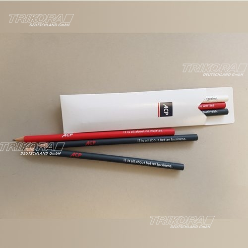 Bleistifte rot grau schwarz im Etui