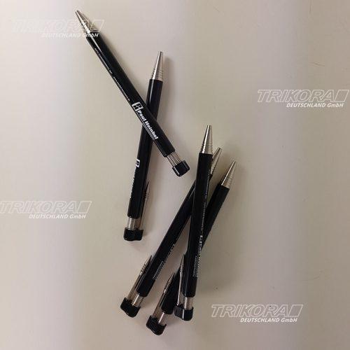 Druckkugelschreiber mit beweglichem Metallclip schwarz