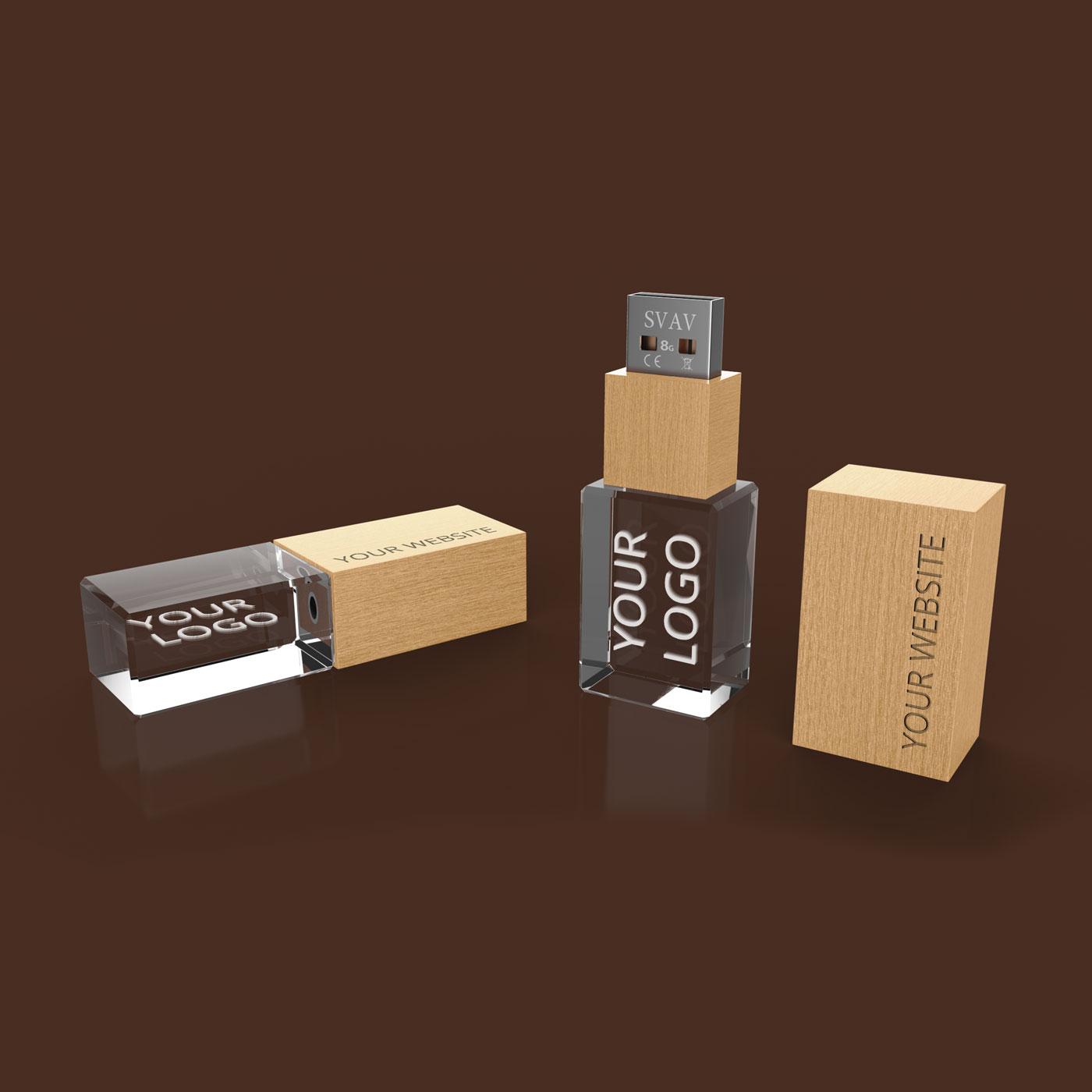 USB-Stick aus Holz und Glas 3Dimensional