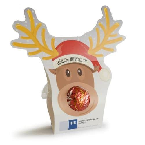 Fröhliche Weihnachten mit Lindt. Ein kleines und doch preisgünstiges Präsent ideal zum Beilegen in Couverts, Verpackungen oder zum Übergeben an Ihre Kunden. Die leckeren Lindt Lindor Kugeln in einer originellen Verpackung.